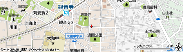 愛知県一宮市観音寺周辺の地図