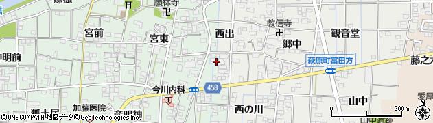 愛知県一宮市萩原町朝宮(茶園)周辺の地図