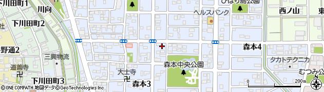 愛知県一宮市森本周辺の地図