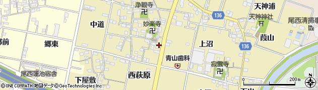 愛知県一宮市西萩原(妙楽寺前)周辺の地図