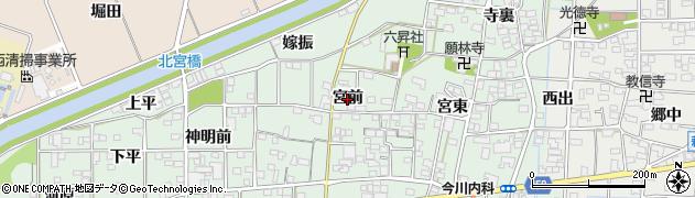 愛知県一宮市萩原町朝宮(宮前)周辺の地図