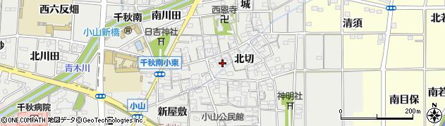 愛知県一宮市千秋町小山(北切)周辺の地図