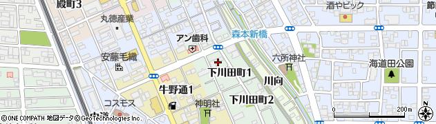 愛知県一宮市下川田町周辺の地図
