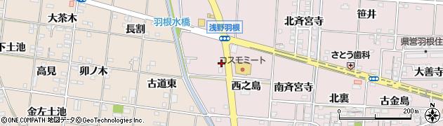 愛知県一宮市千秋町浅野羽根(西之島)周辺の地図