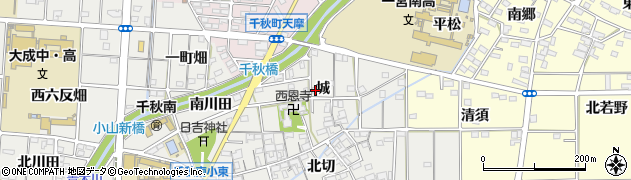 愛知県一宮市千秋町小山(城)周辺の地図