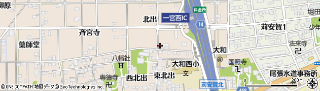 愛知県一宮市大和町苅安賀(北出)周辺の地図
