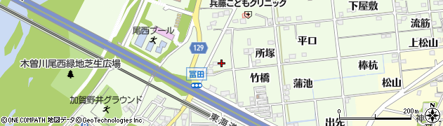 愛知県一宮市冨田(三ツ俣)周辺の地図
