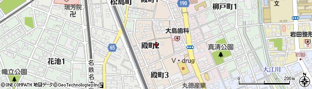 愛知県一宮市殿町周辺の地図