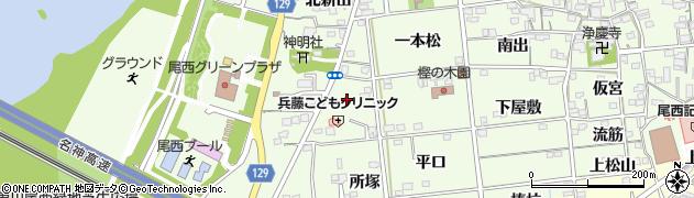 愛知県一宮市冨田(南新田)周辺の地図