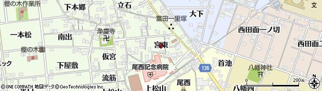 愛知県一宮市冨田(宮東)周辺の地図