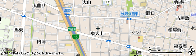 愛知県一宮市浅野(東大土)周辺の地図