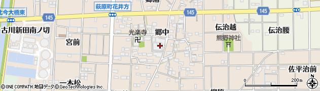 愛知県一宮市萩原町花井方(郷中)周辺の地図