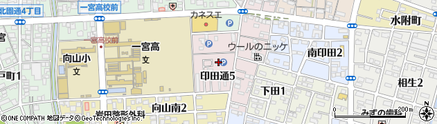 愛知県一宮市印田通周辺の地図