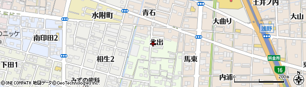 愛知県一宮市馬見塚(北出)周辺の地図