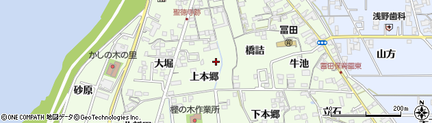 愛知県一宮市冨田周辺の地図