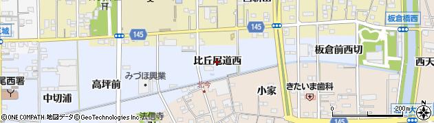 愛知県一宮市西五城(比丘尼道西)周辺の地図