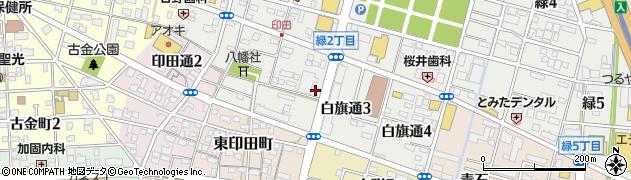 愛知県一宮市白旗通周辺の地図