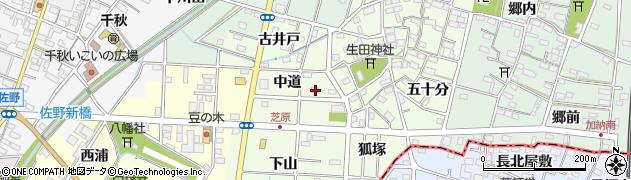 愛知県一宮市千秋町芝原(中道)周辺の地図
