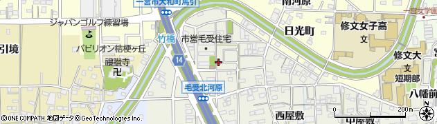 愛知県一宮市大和町毛受(北河原)周辺の地図
