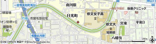 愛知県一宮市日光町周辺の地図