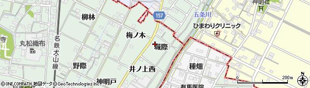愛知県一宮市千秋町加納馬場(城際)周辺の地図