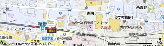 京都府綾部市西町(3丁目南大坪)周辺の地図