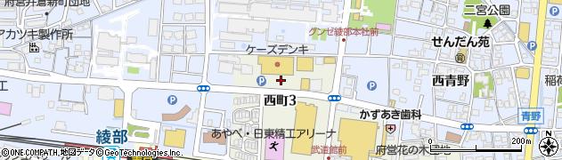 京都府綾部市西町(3丁目北大坪)周辺の地図