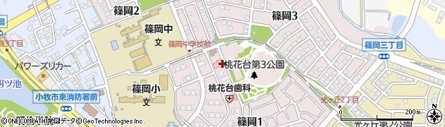 愛知県小牧市篠岡周辺の地図
