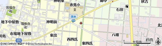 愛知県一宮市大赤見(清水)周辺の地図