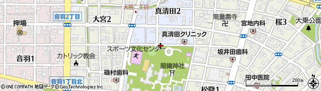 愛知県一宮市真清田周辺の地図