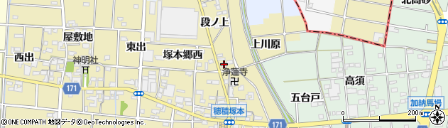 愛知県一宮市千秋町穂積塚本(北裏)周辺の地図