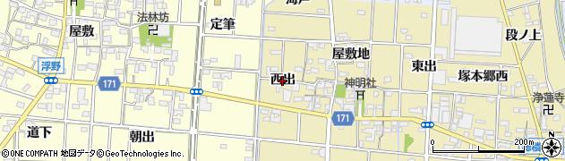 愛知県一宮市千秋町一色(西出)周辺の地図