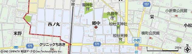 愛知県江南市田代町(郷中)周辺の地図