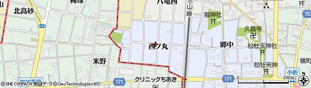 愛知県江南市田代町(西ノ丸)周辺の地図
