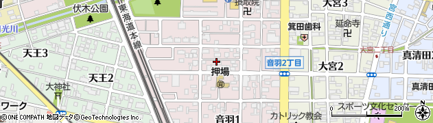 愛知県一宮市音羽周辺の地図