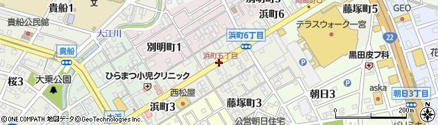 愛知県一宮市浜町周辺の地図