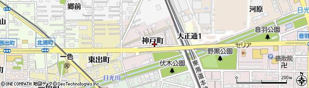愛知県一宮市神戸町周辺の地図