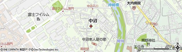 神奈川県南足柄市中沼周辺の地図