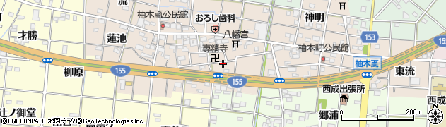 愛知県一宮市柚木颪(大門先)周辺の地図