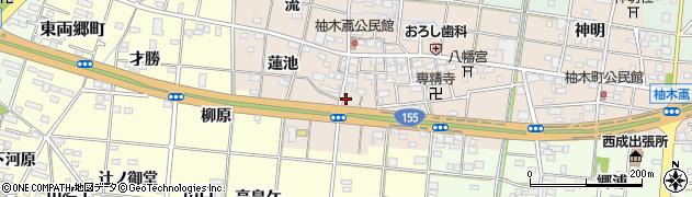 愛知県一宮市柚木颪(上ケ田)周辺の地図