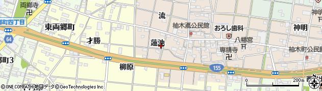 愛知県一宮市柚木颪(蓮池)周辺の地図