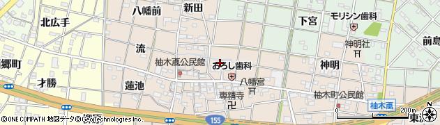 愛知県一宮市柚木颪周辺の地図