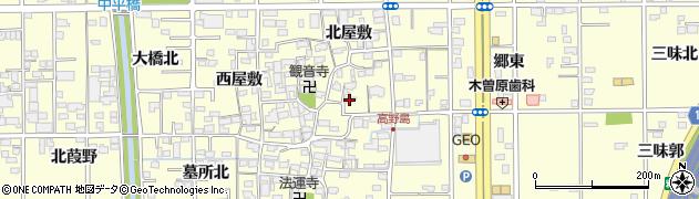 愛知県一宮市開明(東屋敷)周辺の地図