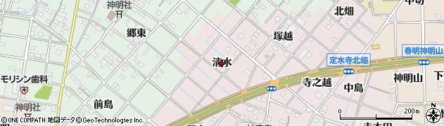 愛知県一宮市定水寺(清水)周辺の地図