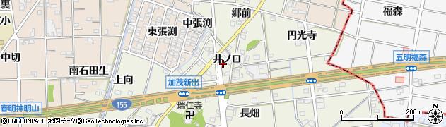 愛知県一宮市千秋町加茂(井ノ口)周辺の地図