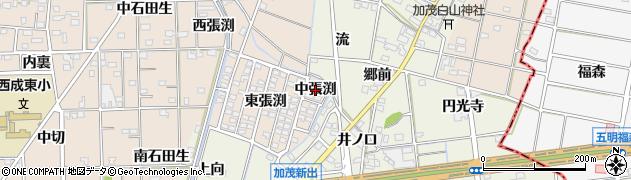 愛知県一宮市春明(中張渕)周辺の地図