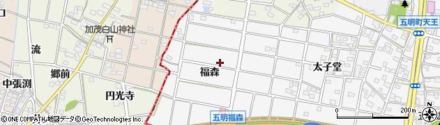 愛知県江南市五明町(福森)周辺の地図