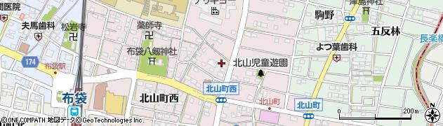 愛知県江南市北山町周辺の地図