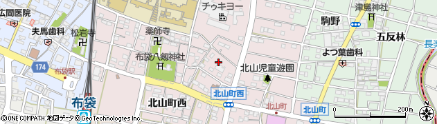 愛知県江南市北山町(西)周辺の地図