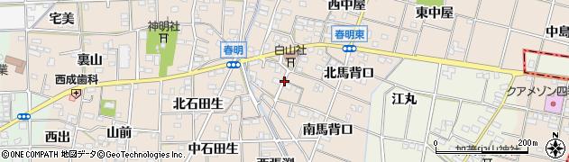 愛知県一宮市春明周辺の地図